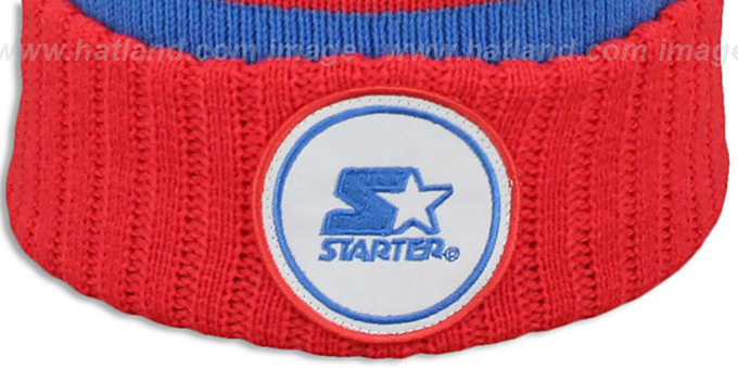 Starter 'S-STAR CLASSIC BOBBLE' Royal-Red Knit Beanie Hat