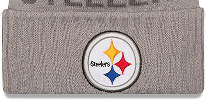 Steelers '2015 STADIUM' Grey-Black Knit Beanie Hat by New Era