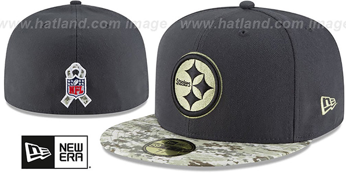 ... Steelers  2016 SALUTE-TO-SERVICE  Grey-Desert Fitted Hat by New ... 9386208fe40
