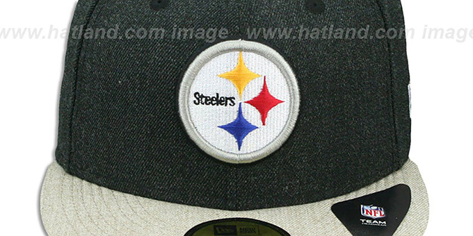 Steelers '2T-HEATHER ACTION' Charcoal-Oatmeal Fitted Hat by New Era