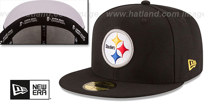 Steelers 6X 'TITLES SIDE-PATCH' Black Fitted Hat by New Era