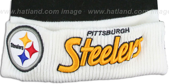 Steelers 'CUFF-SCRIPTER' White-Black-Gold Knit Beanie Hat by New Era