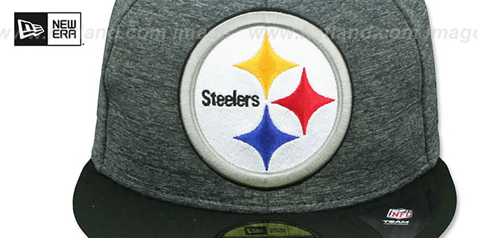 Steelers 'HEATHER-HUGE' Grey-Black Fitted Hat by New Era