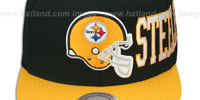 Steelers 'HELMET-WORDWRAP SNAPBACK' Black-Gold Hat by Mitchell and Ness