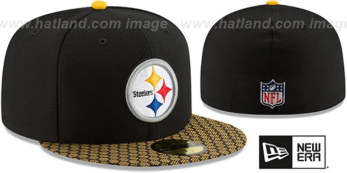 uk availability 08180 a054a ... Steelers  HONEYCOMB STADIUM  Black Fitted Hat by New Era ...