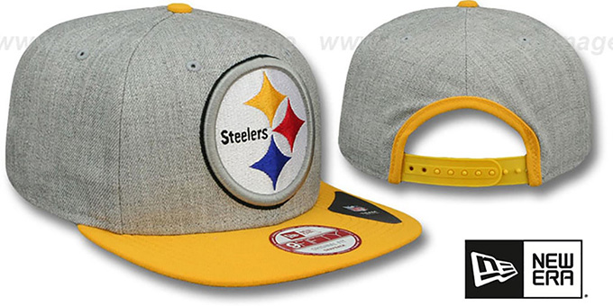 Steelers 'LOGO GRAND SNAPBACK' Grey-Gold Hat by New Era