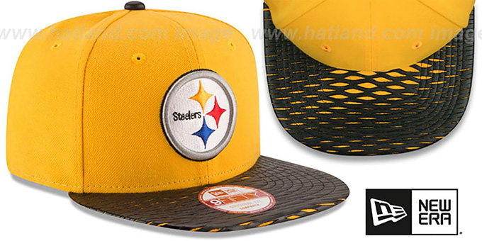 Steelers 'NFL LEATHER-RIP SNAPBACK' Gold-Black Hat by New Era