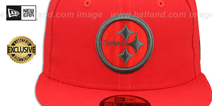 Steelers 'NFL TEAM-BASIC' Fire Red-Charcoal Fitted Hat by New Era