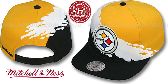 Steelers 'PAINTBRUSH SNAPBACK' Gold-White-Black Hat by Mitchell & Ness