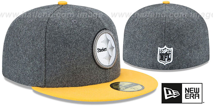 Steelers 'SHADER MELTON' Grey-Gold Fitted Hat by New Era
