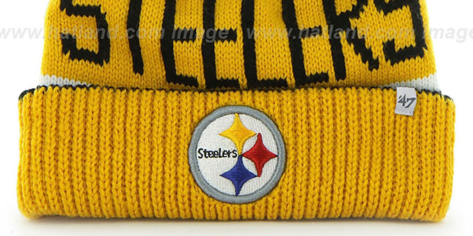 4a201be87ada4d ... Steelers 'THE-CALGARY' Gold-Black Knit Beanie Hat by Twins 47 Brand ...