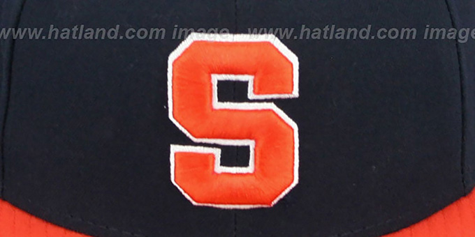69023a16fa9 ... Syracuse  SIDE BASKETBALL-PATCH  Navy-Orange Fitted Hat by New Era ...