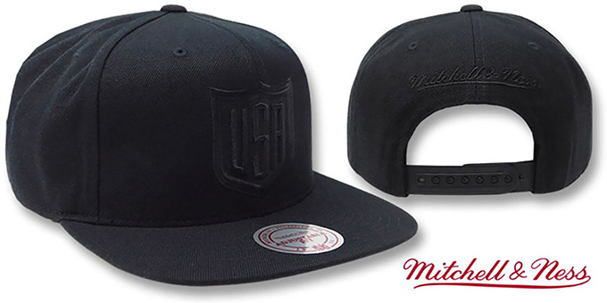 Team USA TONAL 'SHIELD SNAPBACK' Black Hat by Mitchell and Ness