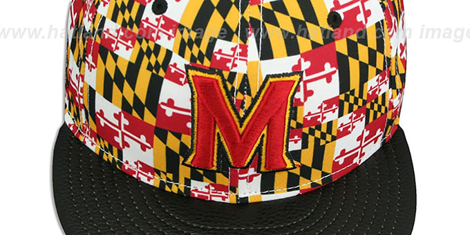 Terrapins 'MARYLAND-FLAG CROWN PEBBLED STRAPBACK' Hat by New Era