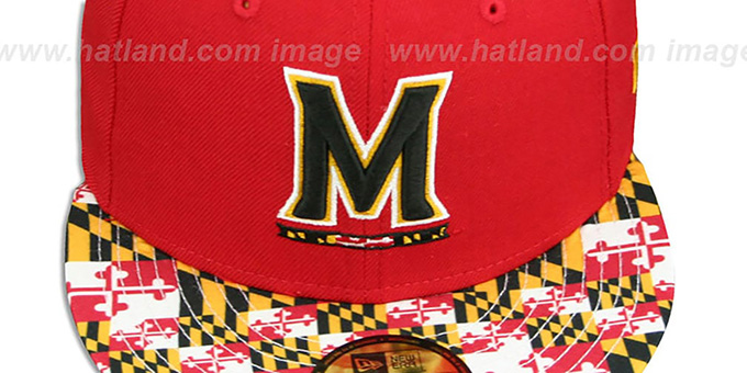 Terrapins 'MARYLAND-FLAG VIZA' Red Fitted Hat by New Era