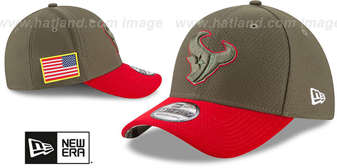 Texans '2017 SALUTE-TO-SERVICE FLEX' Green-Red Hat by New Era