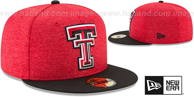 timeless design ac620 4ddd6 Texas Tech HEATHER-HUGE Red-Black Fitted Hat by New Era