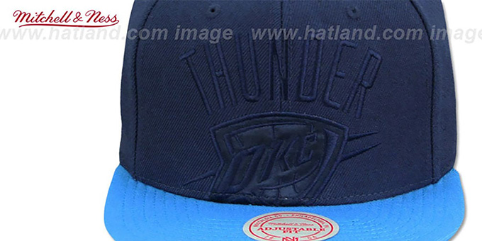 Thunder 'CROPPED SATIN SNAPBACK' Navy-Blue Adjustable Hat by Mitchell and Ness
