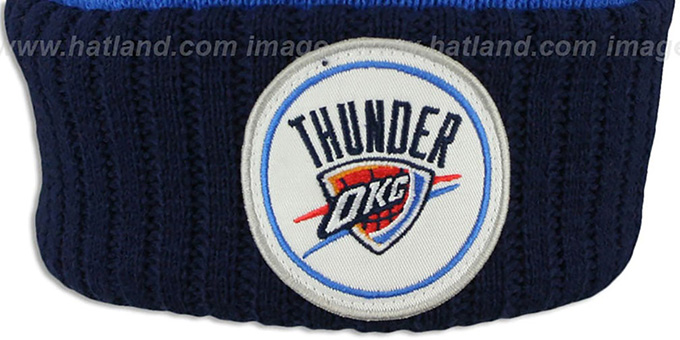 Thunder 'HIGH-5 CIRCLE BEANIE' Blue-Navy by Mitchell and Ness