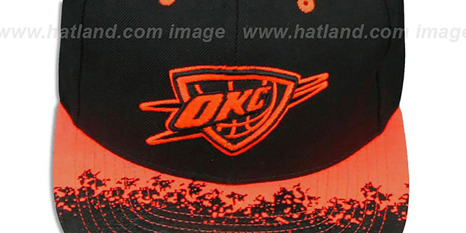 Thunder 'NEON-LAVA SNAPBACK' Black-Orange Hat by Mitchell and Ness