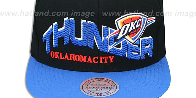Thunder 'THE-WAVE SNAPBACK' Black-Blue Hat by Mitchell and Ness