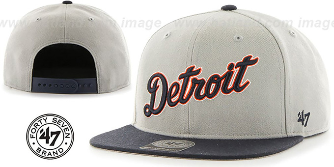 Tigers 'SCRIPT-SIDE SNAPBACK' Grey-Navy Hat by Twins 47 Brand