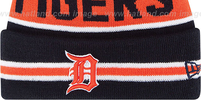 Tigers 'THE-COACH' Navy Knit Beanie Hat by New Era