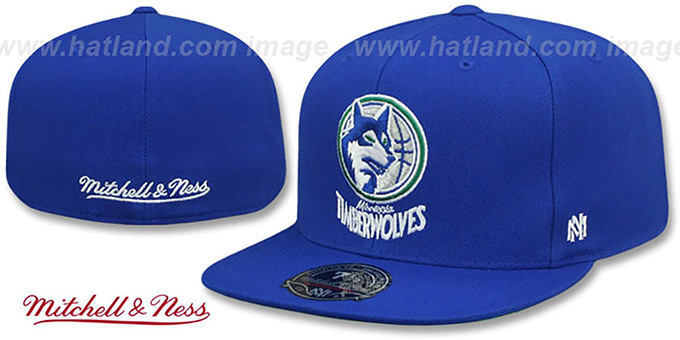 Timberwolves 'HWC SIDE-PATCH' Royal Fitted Hat by Mitchell and Ness