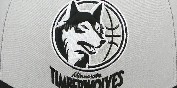 Timberwolves 'MONOCHROME XL-LOGO' Grey-Black Fitted Hat by Mitchell & Ness