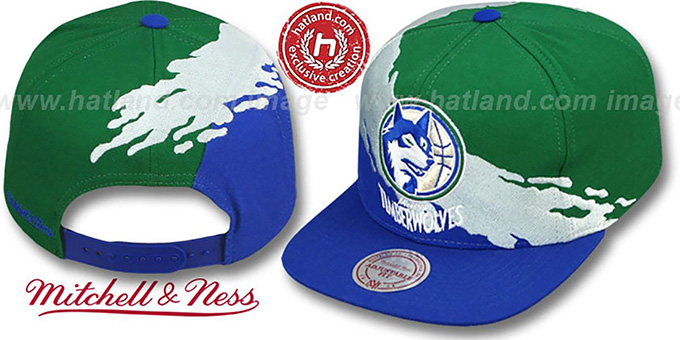Timberwolves 'PAINTBRUSH SNAPBACK' Green-White-Royal Hat by Mitchell & Ness