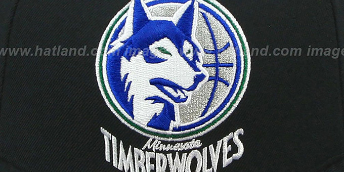 Timberwolves 'XL-LOGO BASIC' Black Fitted Hat by Mitchell & Ness