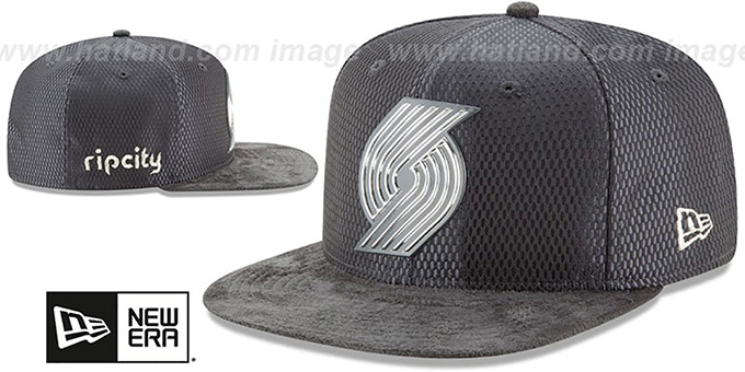 best service a52b5 7e609 ... Trailblazers  2017 NBA ONCOURT SNAPBACK  Charcoal Hat by New Era ...