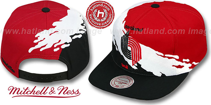 Trailblazers 'PAINTBRUSH SNAPBACK' Red-White-Black Hat by Mitchell & Ness