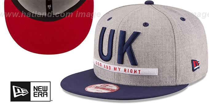 United Kingdom 'FLAG PHRASE SNAPBACK' Grey-Navy Hat by New Era