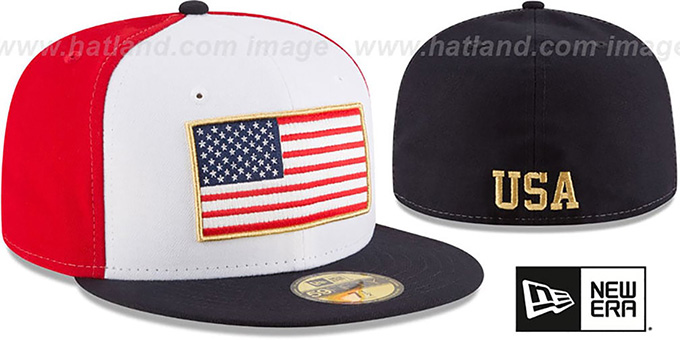United States 'SPIRIT FLAG' White-Red-Navy Fitted Hat by New Era