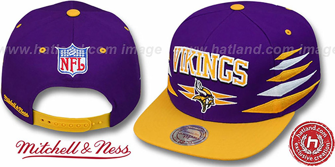 Vikings '2T DIAMONDS SNAPBACK' Purple-Gold Adjustable Hat by Mitchell and Ness