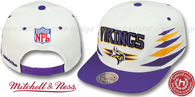 Vikings '2T DIAMONDS SNAPBACK' White-Purple Adjustable Hat by Mitchell and Ness