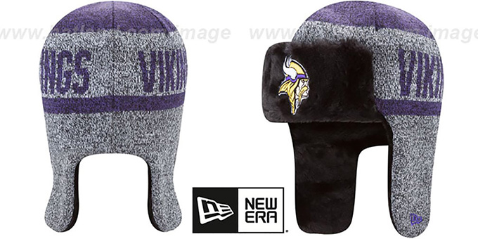 ... Vikings  FROSTWORK TRAPPER  Purple Knit Hat by New Era ... f59200c072b
