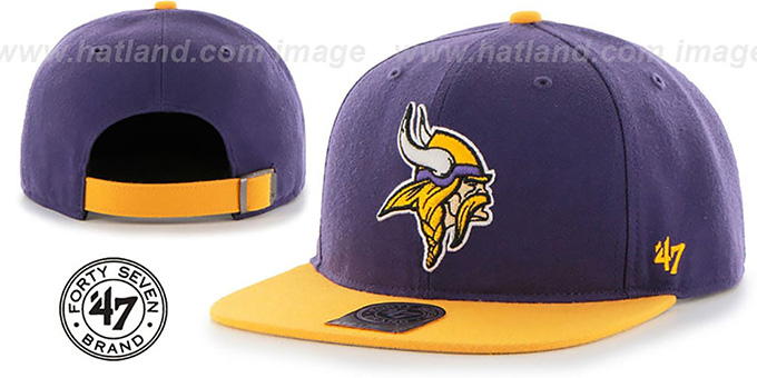 Vikings 'SUPER-SHOT STRAPBACK' Purple-Gold Hat by Twins 47 Brand