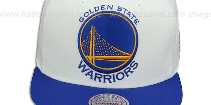 Warriors '2T XL-LOGO SNAPBACK - 2' White-Royal Hat by Mitchell and Ness