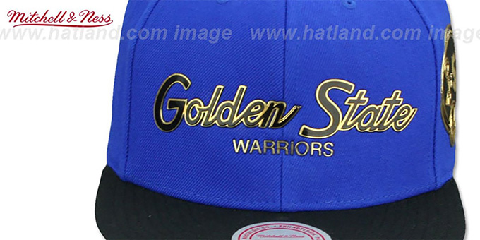 Warriors 'CITY CHAMPS SCRIPT SNAPBACK' Royal-Black Hat by Mitchell and Ness