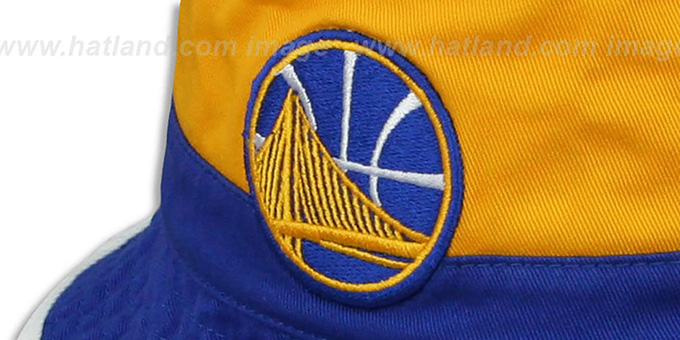 Warriors 'COLOR-BLOCK BUCKET' White-Gold-Royal Hat by Mitchell and Ness
