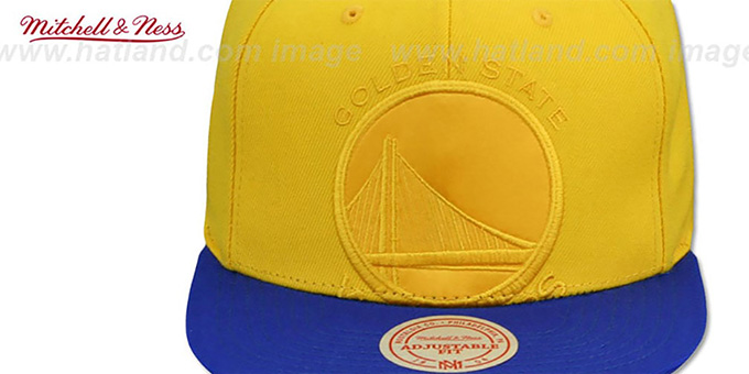 Warriors 'CROPPED SATIN SNAPBACK' Gold-Royal Adjustable Hat by Mitchell and Ness