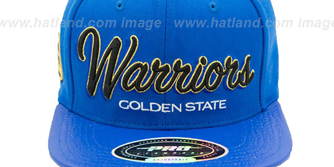 Warriors 'DROP SHADOW SCRIPT STRAPBACK' Royal Hat by Pro Standard