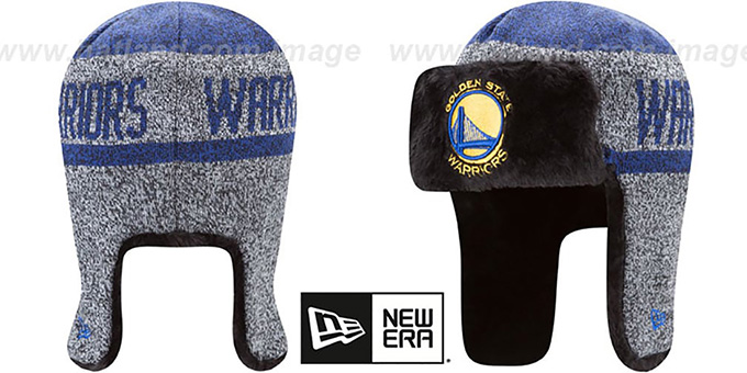 Warriors 'FROSTWORK TRAPPER' Royal Knit Hat by New Era