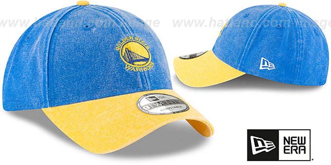 Warriors 'GW RUGGED CANVAS STRAPBACK' Royal-Gold Hat by New Era