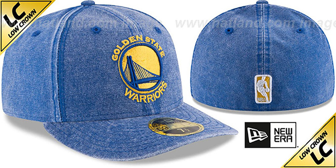 Warriors 'LOW-CROWN FADED' Royal Fitted Hat by New Era
