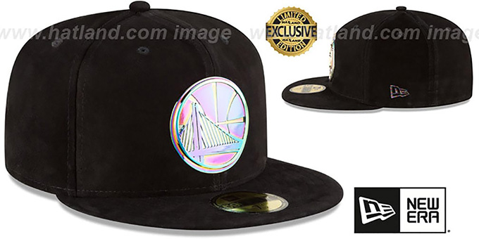 Warriors 'SUEDED IRIDESCENT METAL-BADGE' Black Fitted Hat by New Era
