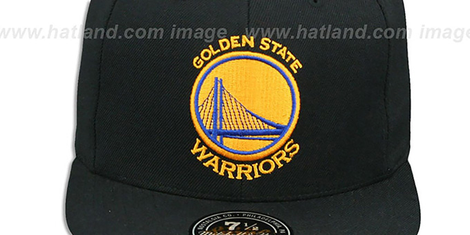 Warriors 'TEAM-BASIC' Black Fitted Hat by Mitchell and Ness