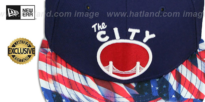 Warriors 'USA WAVING-FLAG' Navy Fitted Hat by New Era